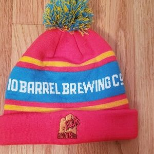 10 Barrel 'Drink Beer' red and blue pom pom beanie